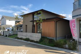 黒川東中日ハウジングセンター内、neie設計モデルハウス 外部木壁洗い有り難うございました。